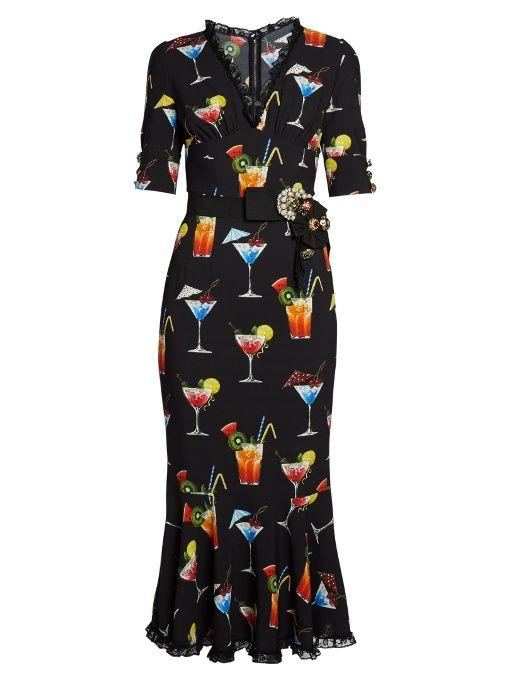 b471f9f7234b DOLCE & GABBANA Cocktail-Print Cady Midi Dress. #dolcegabbana #cloth #dress