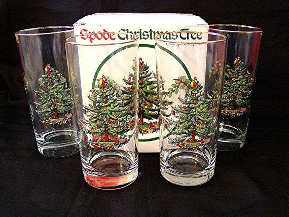Spode Christmas Tree Glasses 6 Inch Highball By Treasurespast4u