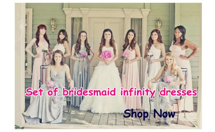 Set of bridesmaid dresses
