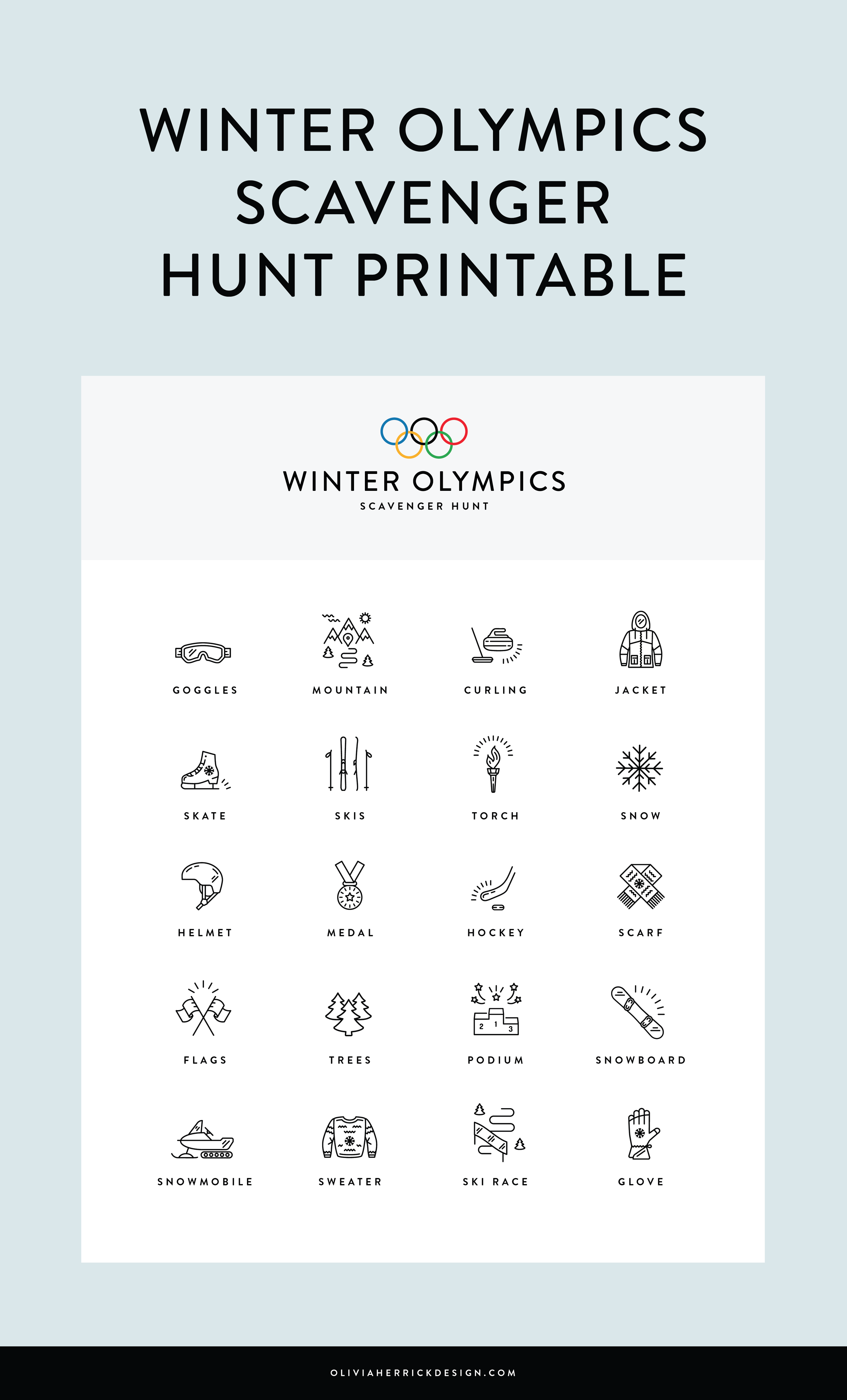 Olympics Scavenger Hunt Coloring Sheets