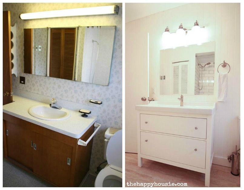 Super Thrifty Bright White Bathroom Makeover With Ikea Hemnes Vanity