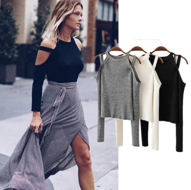 Sexy Pullover Shoulder-less Sweater Size  S and M Color  Grey 69877676c