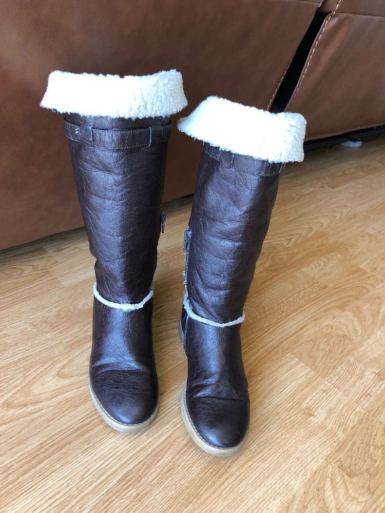 5740841993d Women's Size 6 Benetton Leather Fleece Lined Boots - NICE! WARM ...