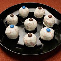 H-E-B Bloodshot Peanut Butter Eyeballs Recipe--sounds like a rice krispy treat meets peanut butter ball, gotta try this!