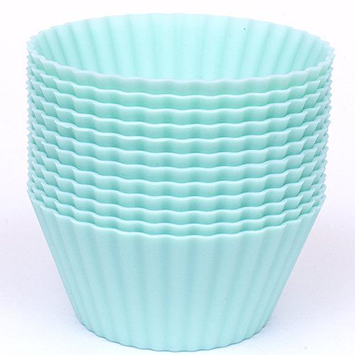 Silicone Cupcake Liners Set Of 12 Premium Reusable Teal Muffin