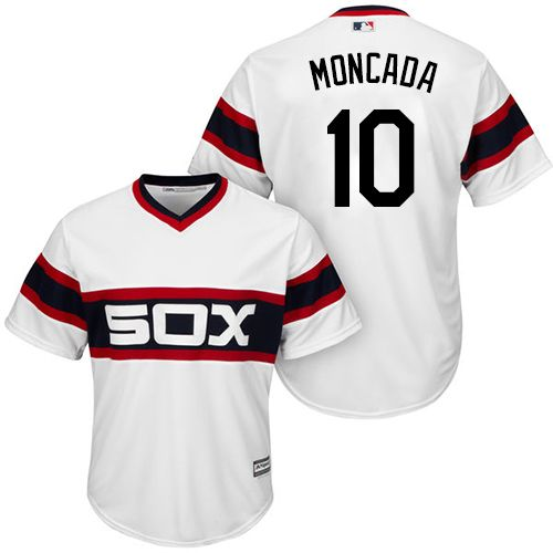 f8608e64d53 White Sox  10 Yoan Moncada White New Cool Base Alternate Home Stitched MLB  Jersey