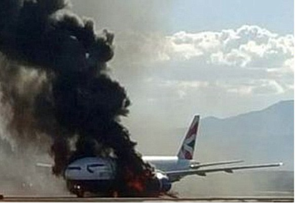 GOSSIP, GISTS, EVERYTHING UNLIMITED: British Airways Plane Catches Fire at Las Vegas Ai...