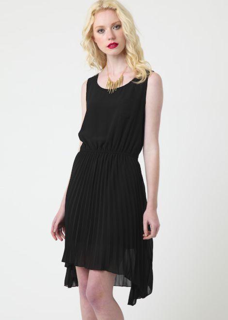 Pleated Amy Dress - Black