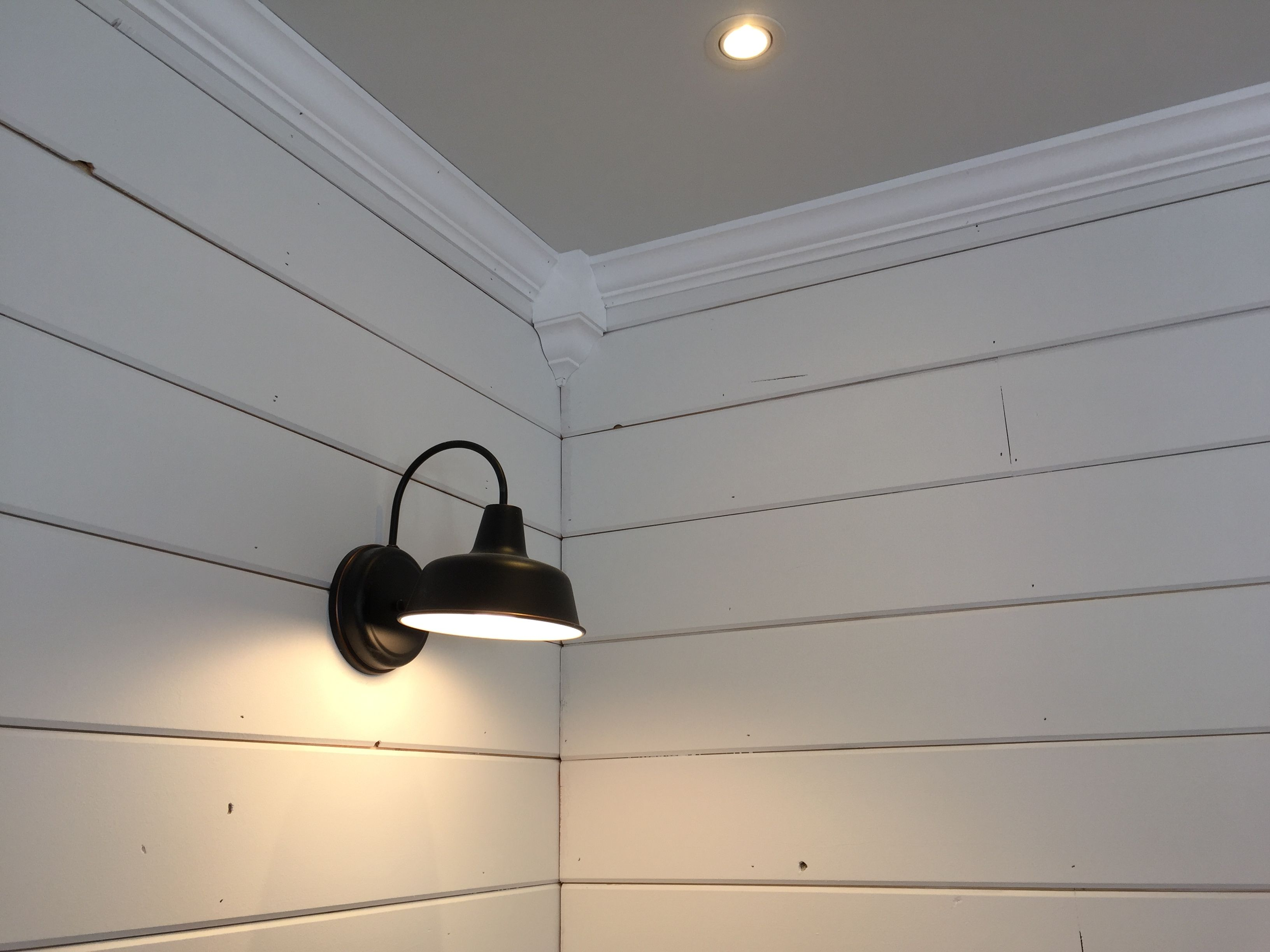Crown molding, shiplap, and barely gray ceiling  I did all