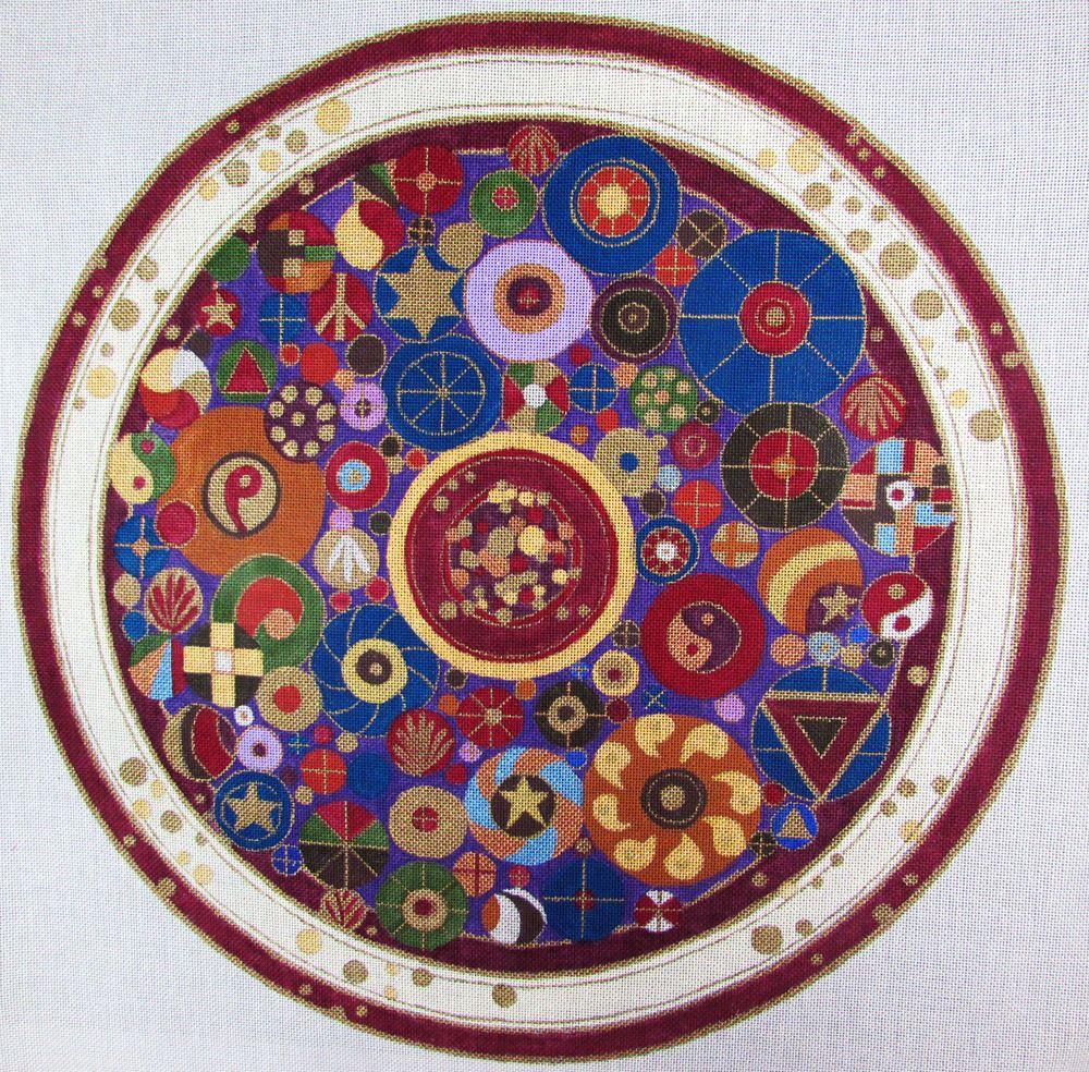 HP Needlepoint 18ct Janrae by Janice Gaynor Circle of Circles Round ED81 | eBay
