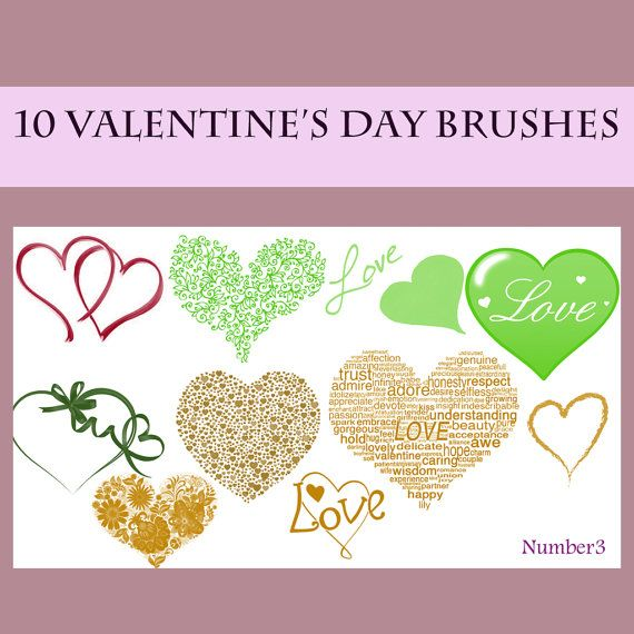Bundle of 10 Valentine's Day Brushes Great for by JananArtShop