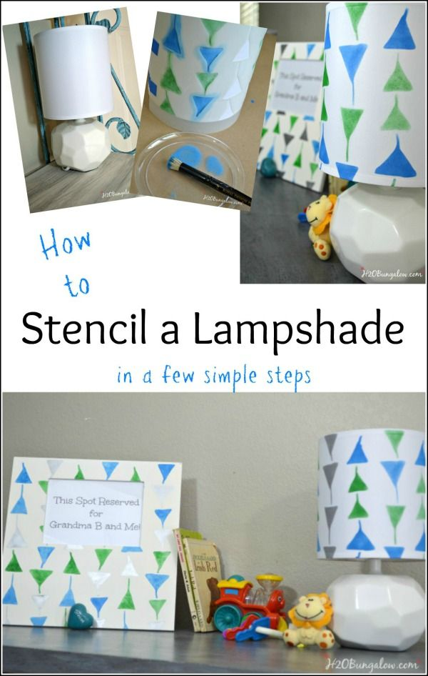 How to stencil a lampshade in a few easy steps.  simple tutorial by H2OBungalow
