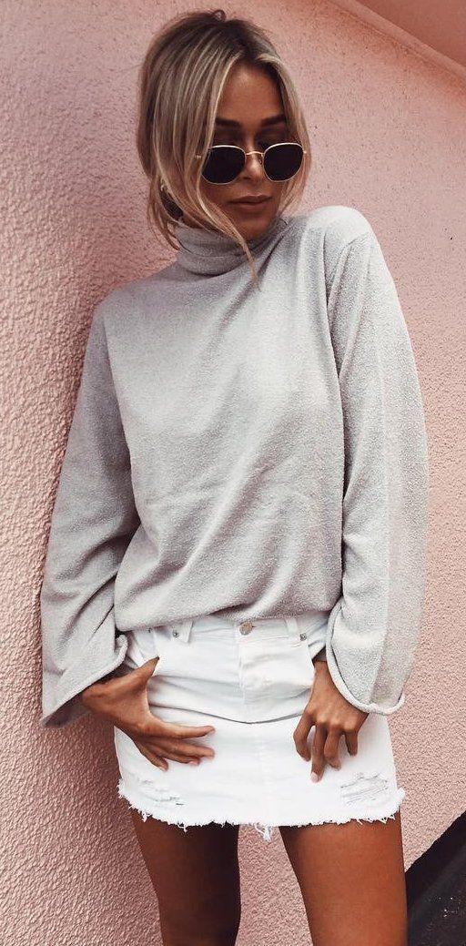 #winter #fashion /  Riva Turtleneck Jumper  + White Denim Skirt