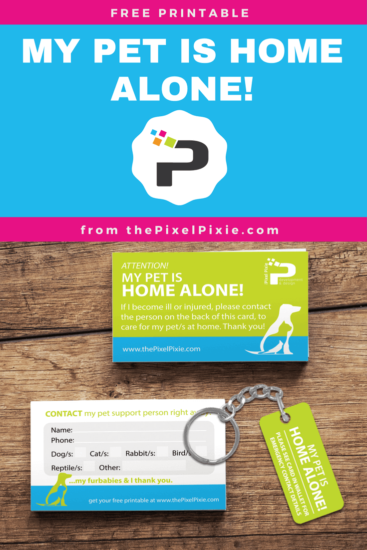 My Pet Is Home Alone Wallet Card Pet Emergency Home Alone Pets