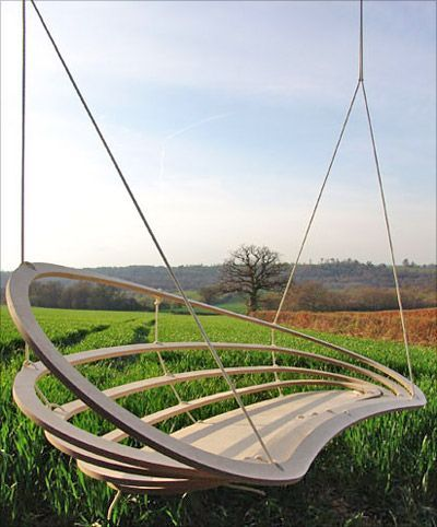 Unique porch swing  does not look comfortable, but great cool factor. clever design