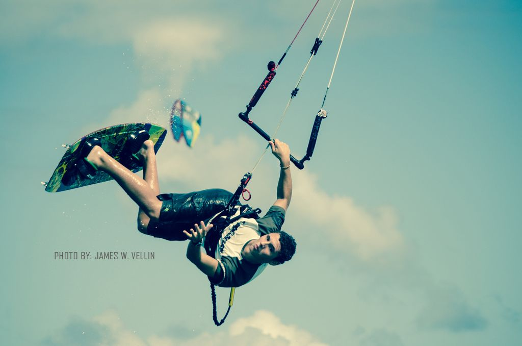 Kitesurfing at Le Morne Beach, Mauritius.