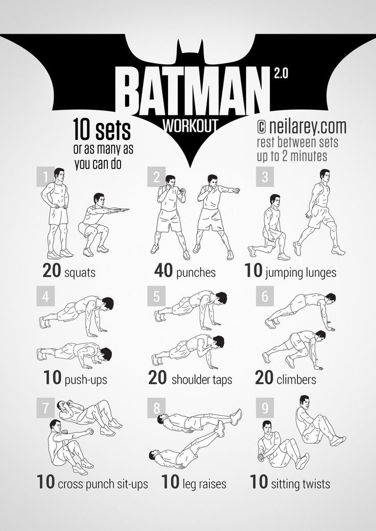 Nine sets of exercises designed to build you to rule the streets of Gotham City at night. Exorcise your inner demons with this set of…