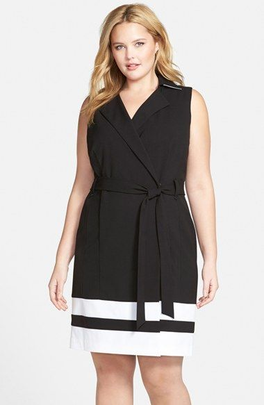 Calvin Klein Stripe Wrap Dress (Plus Size) available at #Nordstrom ...