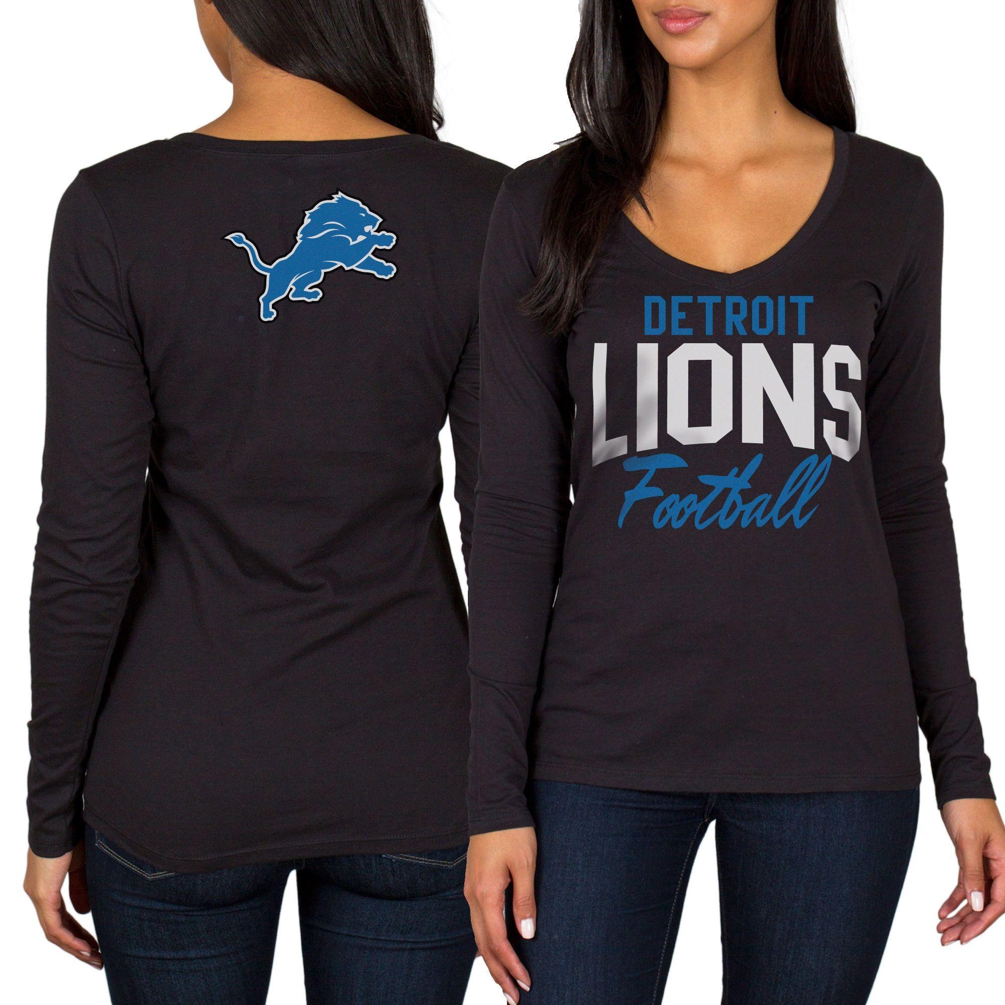 Women s Detroit Lions Black Direct Snap V-Neck Long Sleeve T-Shirt ... 904920b16