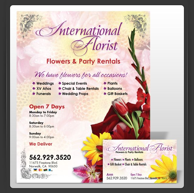Floral Minimal Wedding Flyer Template: Flyers For Florist Advertisiment