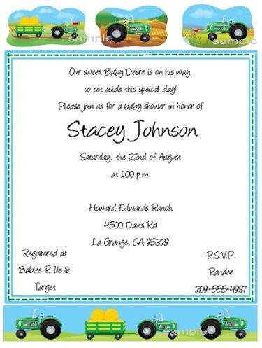 John Deere Baby Shower Invitations Keepsake Imprints Online Store
