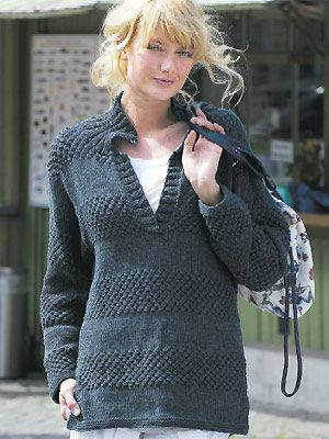9fdb71a4c14f Free Knitting Pattern - Women s Sweaters  Collared Sweater ...
