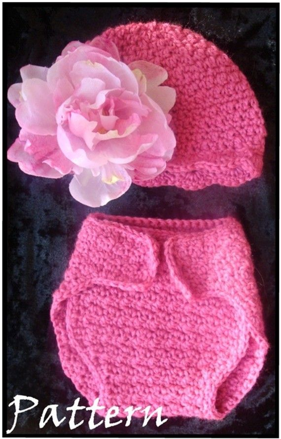 baby hat cover baby hat and diaper cover pattern crochet babies pinterest
