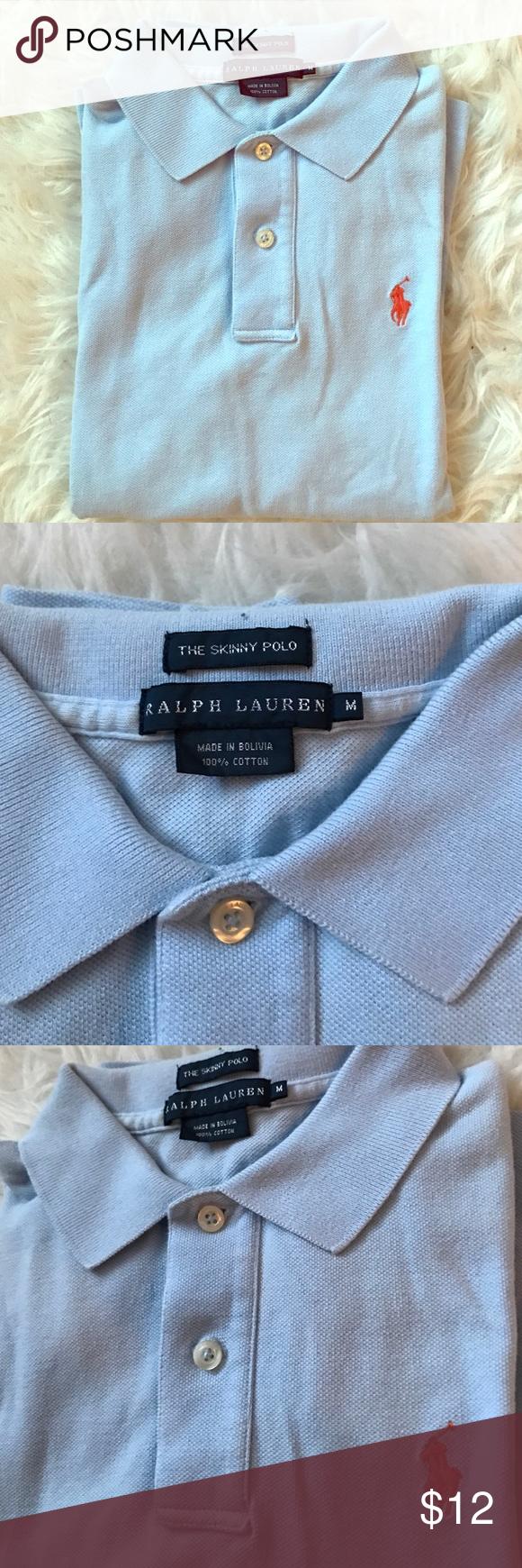 Ralph Lauren Women's The Skinny Polo Ralph Lauren Women's The Skinny Polo / Size: Medium / 100% Cotton / Color: Light Blue Ralph Lauren Tops