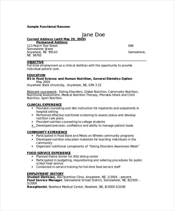 Dietitian Resume Template Free Word Pdf Documents Download For