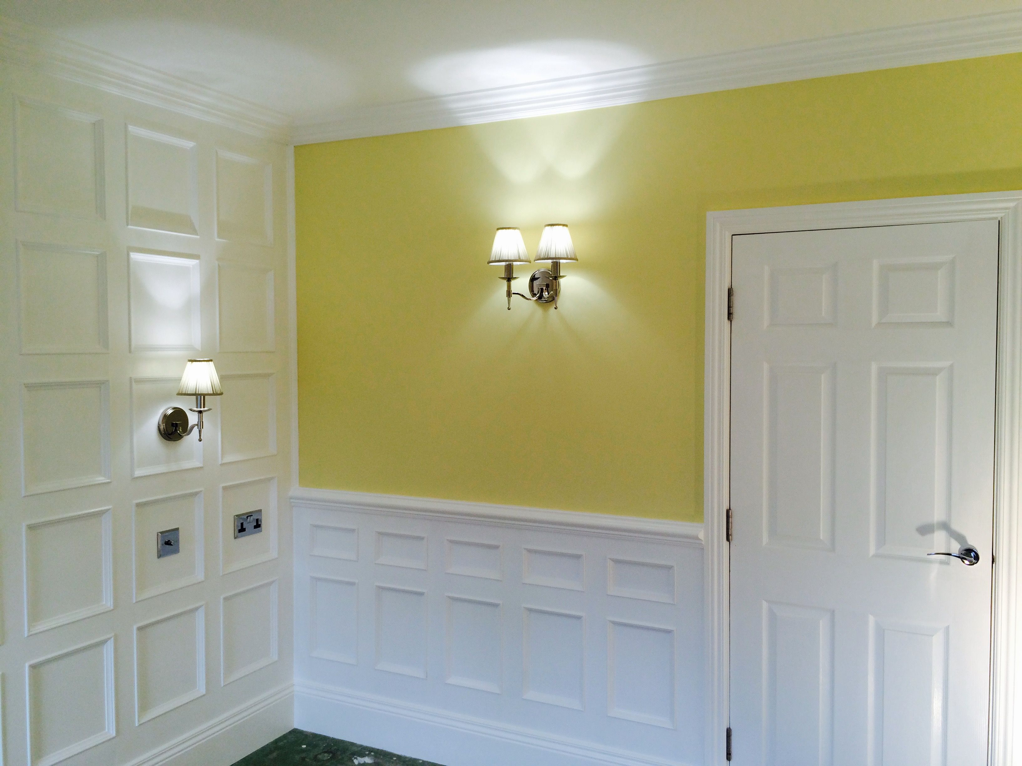 Beaded wall panelling around room to match feature wall Looks classy ...