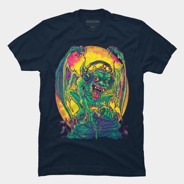 Gargoyle With Headphones Jamming To His Music T Shirt By MudgeStudios Design By Humans