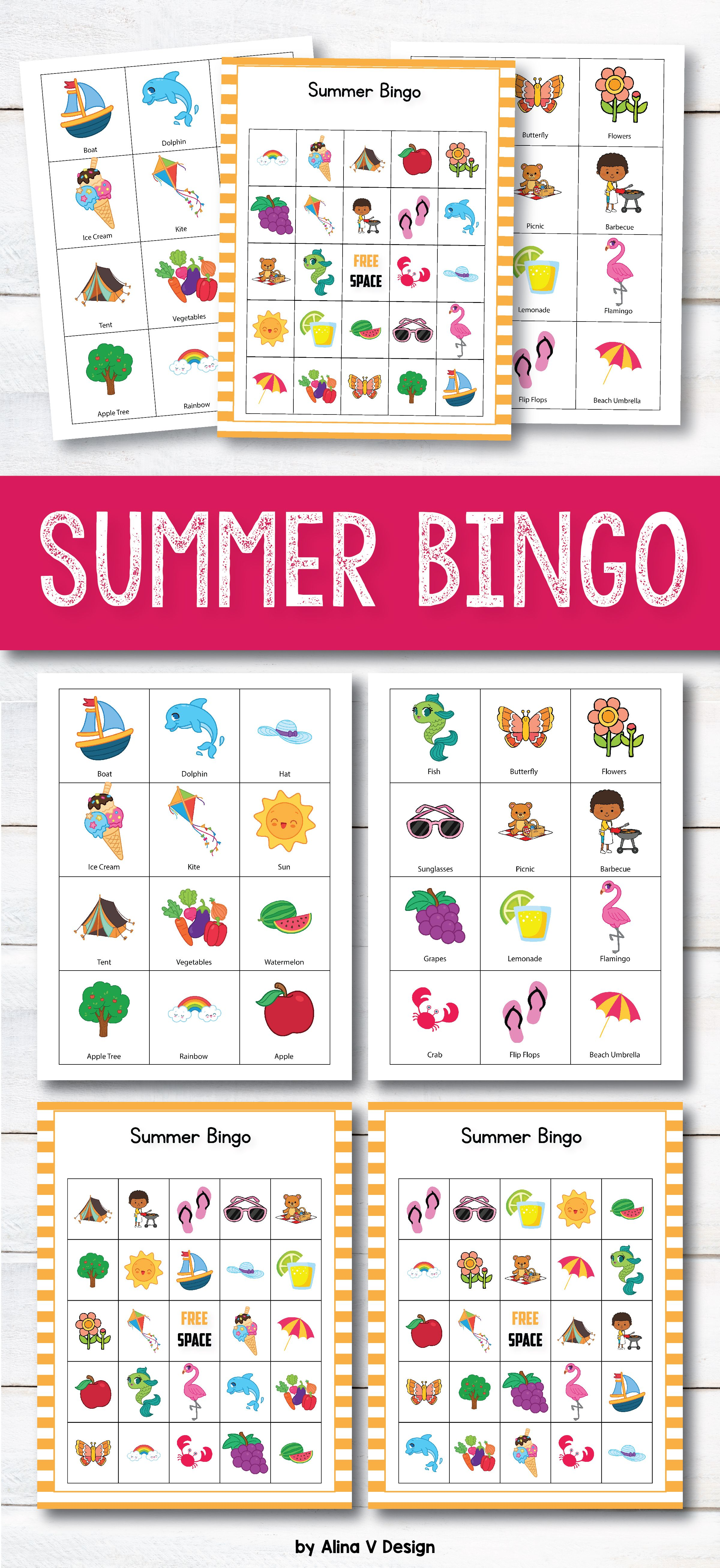 Summer Bingo Printable For Kids Is Perfect Game For Classroom Or
