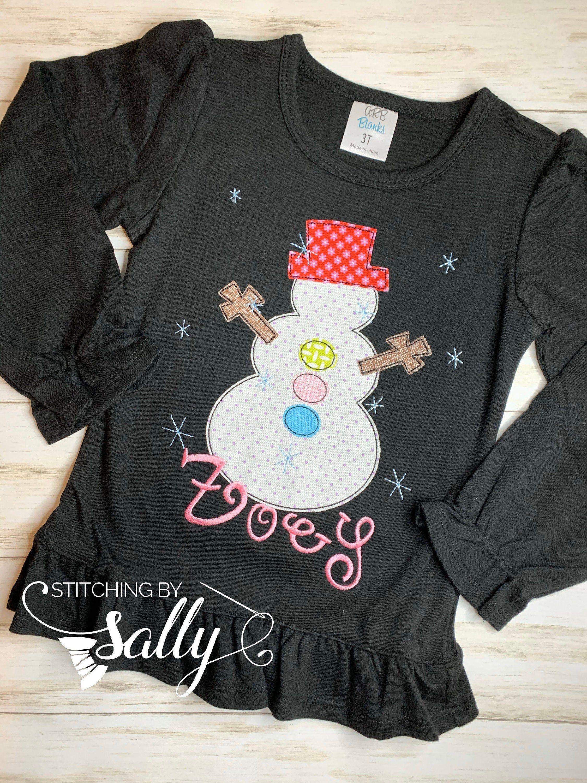 Girly Snowman Appliqué Shirt, Christmas Shirt