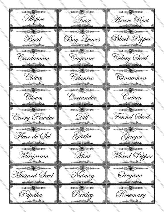 picture regarding Free Printable Spice Labels named Herb and Spice Labels printable planning kitchen area