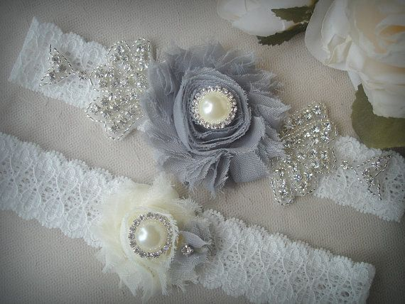 SALE/ Fast Shipping / Wedding Garter Set Ivory Garter by TIdesigns, $25.75