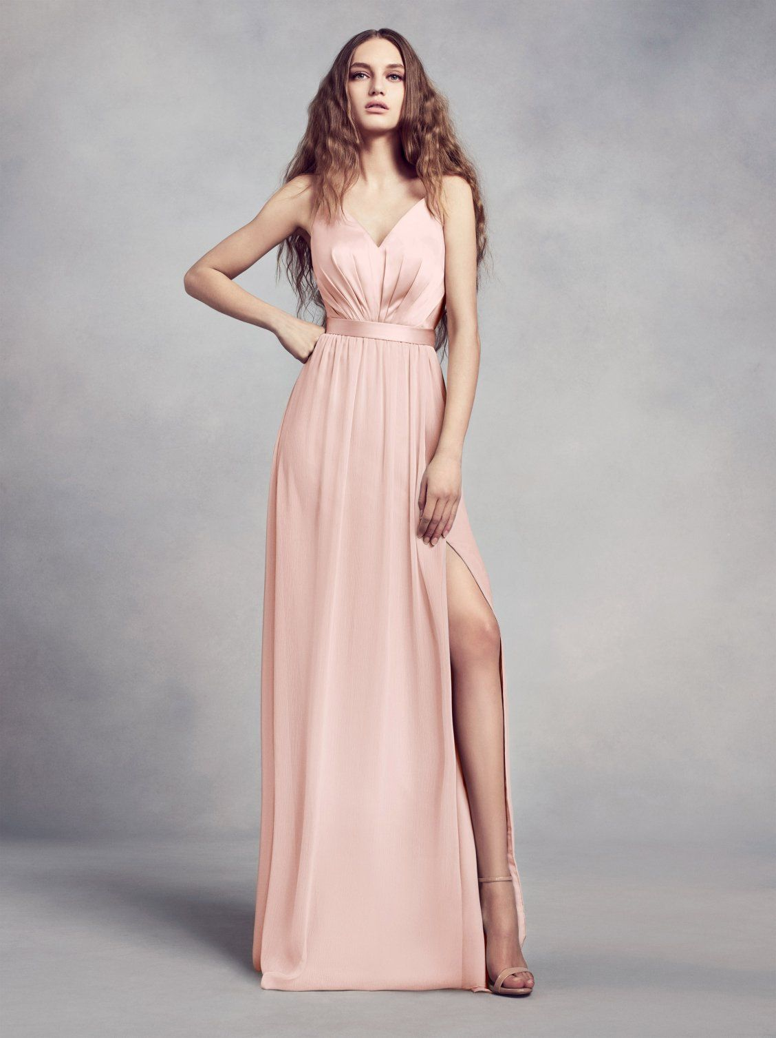 365f2624b729 White by Vera Wang Bridesmaid Dress Style VW360345, a charmeuse and chiffon  v-neck bridesmaid dress in Blush available at David's Bridal