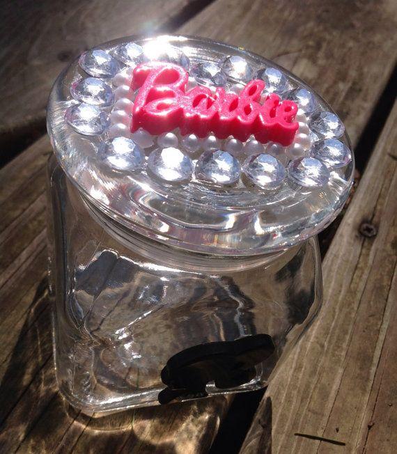 Barbie Rhinestones Glass Jar Air Tight by SmokingGirlCouture, $13.00