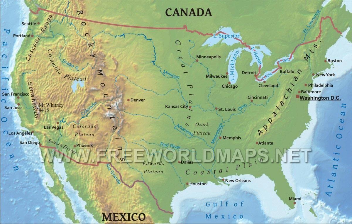 Us Physical Map Jpg 1200 764 Usa Karte Rocky Mountains Denver