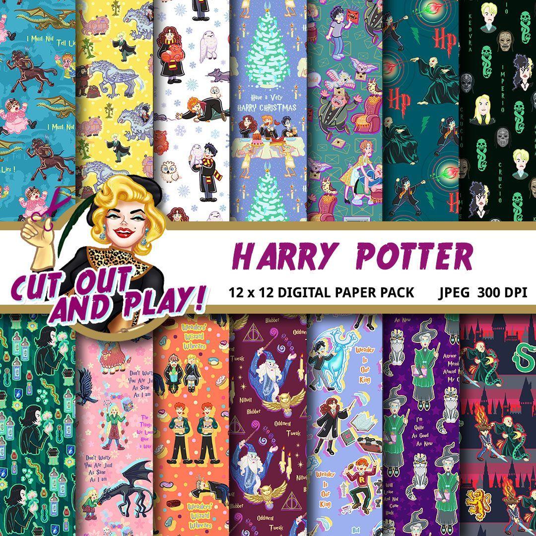 Harry Potter Digital Paper Harry Potter Scrapbook Slytherin Gryffindor Birthday Party Card Hogwarts Invitation Patterns Backgrounds Harry Potter Scrapbook Digital Paper Diy Party Decorations
