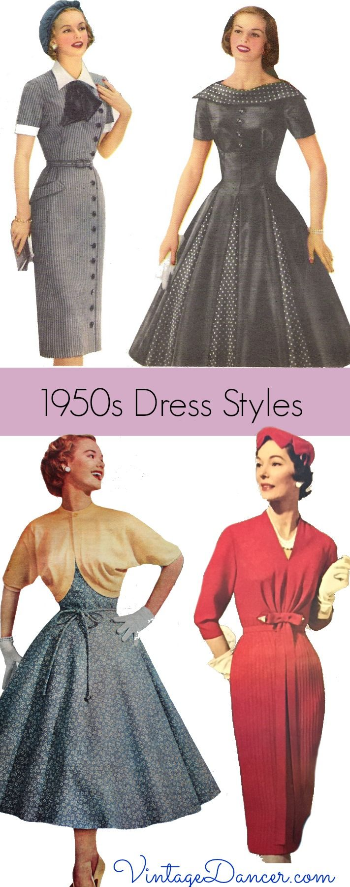 5b13b0ea1f1 1950s dress styles  Sheath or swing dresses were the predominant shapes of  fifties fashion. Learn more at VintageDancer.com