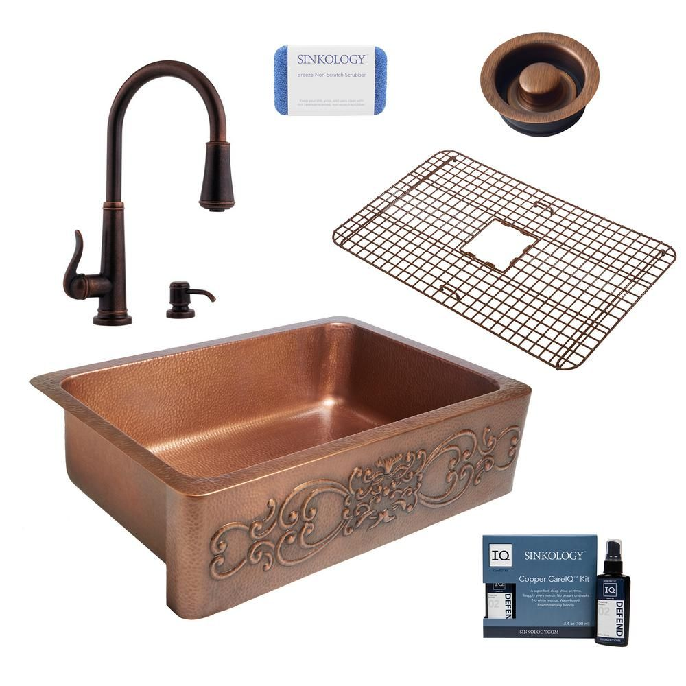 Sinkology Ganku All In One Farmhouse Copper 33 In Single Bowl Kitchen Sink With Pfister Ashfield Faucet And Drain In Bronze Antique Copper Single Bowl Kitchen Sink Double Bowl Kitchen Sink Sink