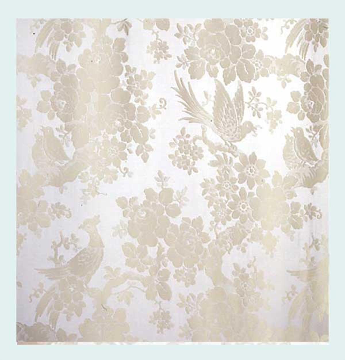 "Vintage Linen Petite Damask  Blue 140cm//54/"" Curtain//Craft Fabric"