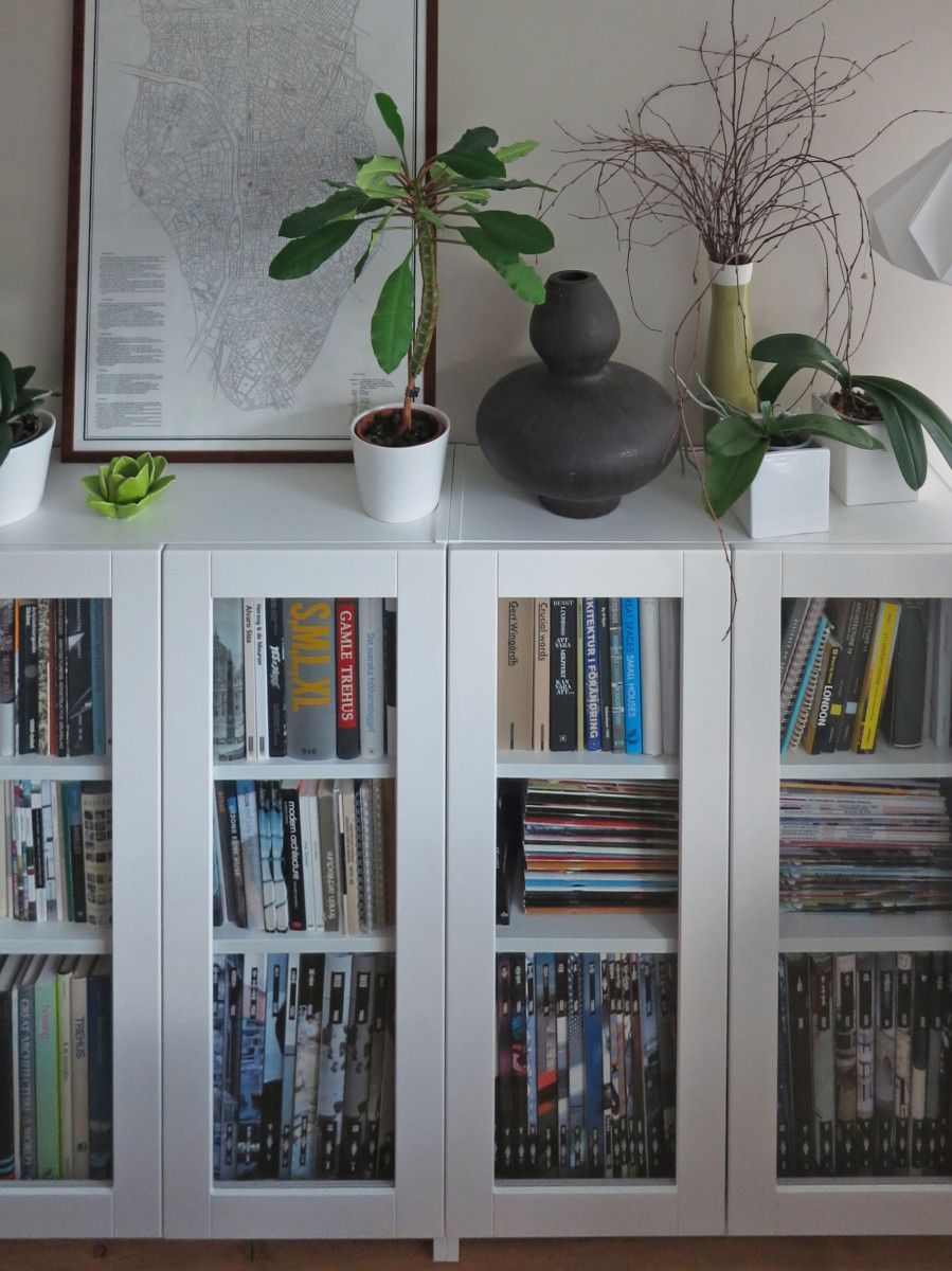 Ikea bookcase with glass doors  BILLY bookcases with GRYTNÄS glass doors  Living room  Pinterest