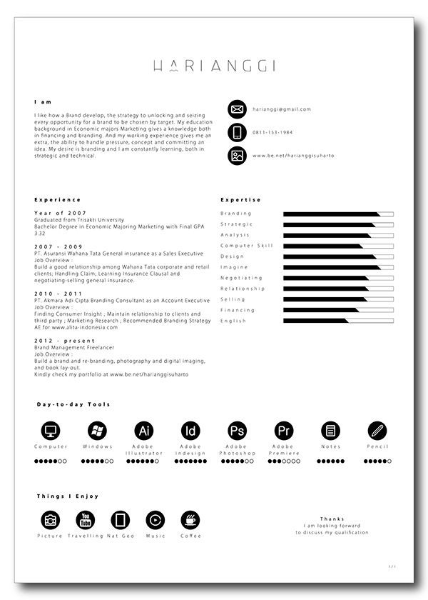 Minimal Curriculum Vitae CV - Resume by OFFI on @creativemarket - Simple Format For Resume