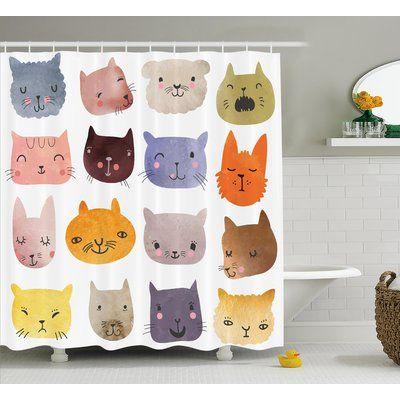 Zoomie Kids Lottie Colorful Humor Fun Cat Shower Curtain Hooks Cat Shower Curtain Fabric Shower Curtains Bathroom Decor Sets