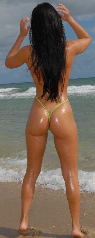 Amateur brunette butter in bikini