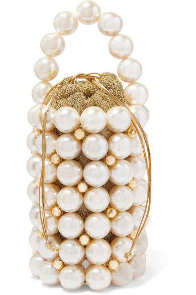Vanina - Comino Faux Pearl And Gold-tone Beaded Tote