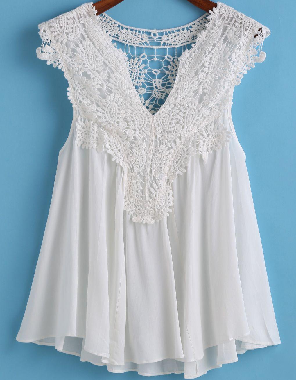 b854ea740b1 Top cuello V plisado encaje -blanco 12.48