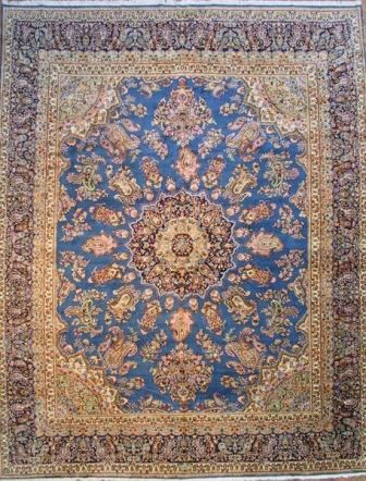 Square Kerman Persian Rug With A Beautiful Blue Field