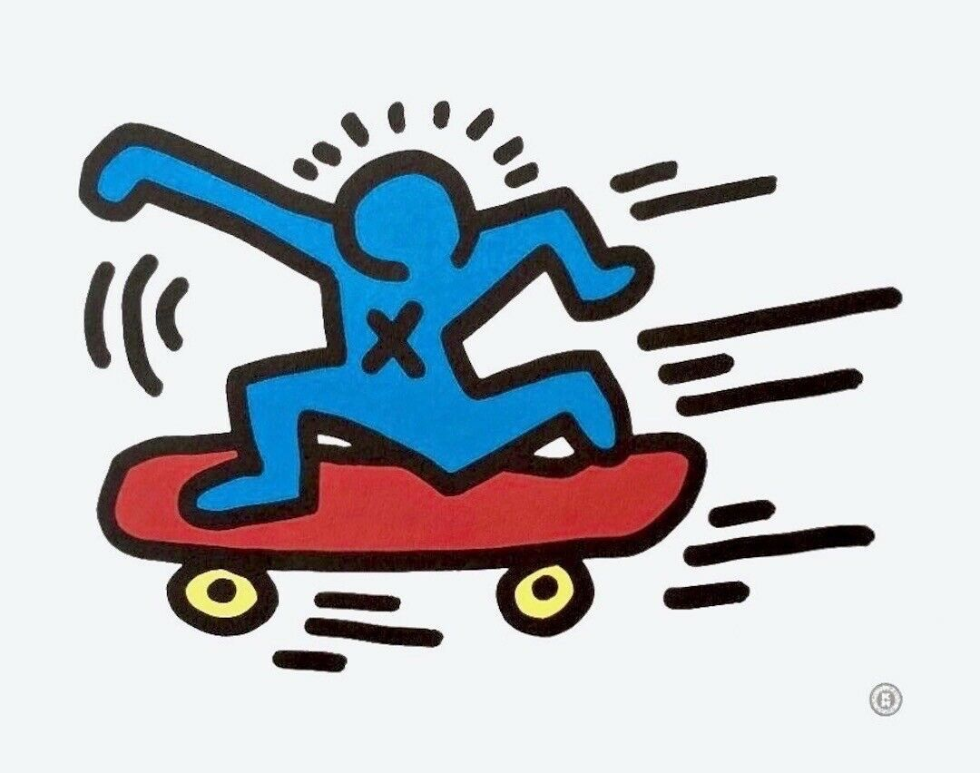 Skateboarder Offset Lithograph Keith Haring